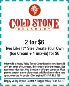 Cold Stone Creamery Spring Coupon