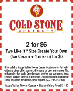 Cold Stone Holiday Coupon